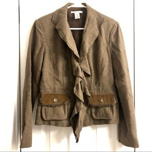 CAbi Kensington Wool Blend Blazer Jacket Ruffle 8